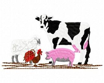 Farm Animals Machine Embroidery Design - Instant Download