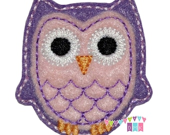 Spring Owl Purple & Pink Felt Embroidered Embellishment Clippie Cover SET of 4 - Multiple Sets Available