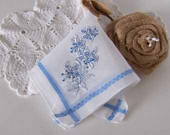 Bride's Something Blue Rustic Wedding Handkerchief for a  Country Wedding Bridal Hanky Something Old