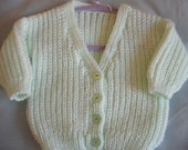 hand knitted baby sweater 6 - 9 months in mint green silver thread