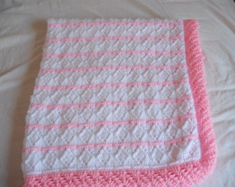 hand baby blanket in white and pink Marriner DK wool