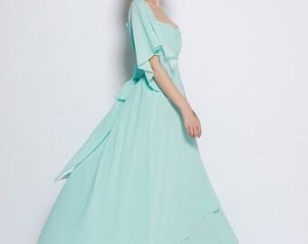 Mint Wedding Dress , Chiffon party dress, mint bridesmaid dress, floor length formal dress - NC697