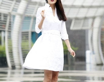 "On Sale Size XS Spring Dress Shirt Style Sleeves Loose Fitting ""V"" Collar Long Linen Dress in White- NC464-2"