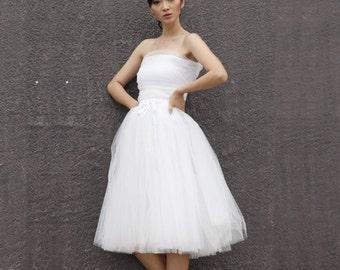 On Sale Size S Tulle Skirt  Elastic Waist tulle tutu Princess Skirt in White color - NC508-7