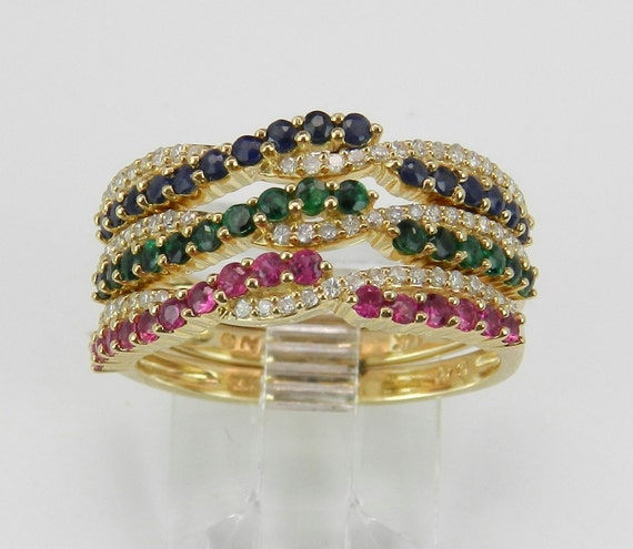 Diamond Sapphire Ruby Emerald Stackable 3 Ring Band Set 14K Yellow Gold Size 7