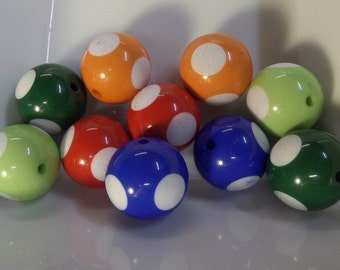 20mm 10CT Large Dotted Beads, Mixed Color Only! F41