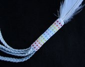 Rainbow Gourd Stitch Smudge Feather - Heritage Turkey - Snowy Owl - Hand Made in USA - Smudging Feather - Peyote Stitch Seed Beaded Feather
