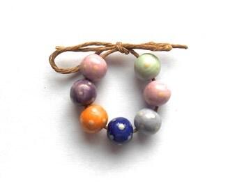Pastel Shade  Polka Dot Round Mini  Bead  Set  Handmade Ceramic Mixed Glazes