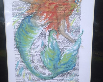 Mermaid print on dictionary page