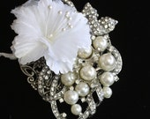 For Laura... Corsage, Made with Vintage Jewelry, Mother of the bride,