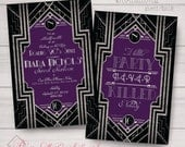Sweet 16, Wedding, Birthday, Prom, Invitations: Gatsby, Black, Silver, Purple, Monogram, Classy. Samples/Printing/Digital Files Available