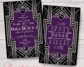 Sweet 16, Wedding, Birthday, Prom, Invitations: Gatsby, Black, Silver, Purple, Monogram, Classy. Samples/Printing/Digital Files Available