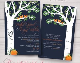 Wedding, Shower, Anniversary Invitations: Tree Carving, Mod Lovebirds, Birch, Orange Pumpkin, Fall. Samples/Printing/Digital Files Available