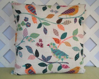 Birds on Branches Pillow Cover in Teal Orange Ivory / Bird Pillow / Teal Orange Pillow / Accent Pillow / Spring Pillow / 18 x 18 Pillow