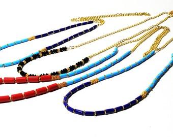 Boho Necklace, Dainty Necklace, Layering Necklace, Turquoise Necklace, Black & Gold