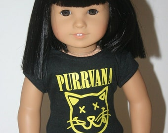 Purrvana grunge cat tshirt made to fit your 18 inch doll such as american girl