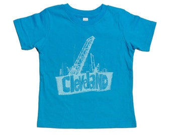 Youth and Toddler Tee - 'Cleveland Bridges' on Turquoise