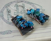 Steampunk Wire Wrapped Turquoise Chip Leather Earrings Mother's Day Gift