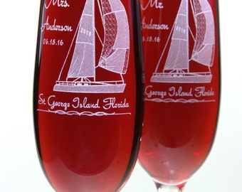 Sailboat Champane Glasses - Personalized with Names, Date and Destination