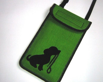 Cellphone case fits iPhone6 Plus neck-crossbody bag Handmade Smartphone Cover small sling mobile purse fabrics in lime green Pet Dog Lead