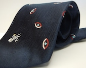 Vintage Don Loper of Beverly Hills navy EYE necktie, swan logo