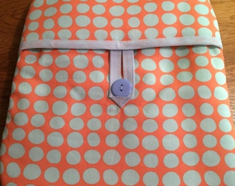 Hot Water Bottle Cover Orange with Light Blue Spots Cotton Fabric by Amy Butler Xmas, birthday present or gift