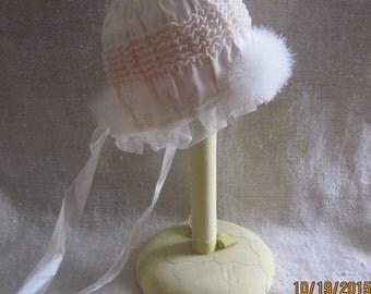 Plume Trimming Antique Baby Bonnet