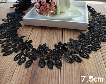 "5 mete 7.5cm 2.95"" width black leaf  embroidered lace trim ribbon tapes hthin free ship"