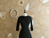Vintage 1950s Stunning Black Wool Jersey Wiggle Dress -Role Of The Dice-