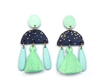 Large Navy & Mint Statement Earrings