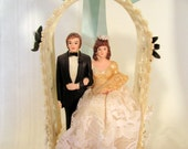 """Wedding Cake Topper Under Arch of Pearls and Flowers 7 1/2"""" tall"""