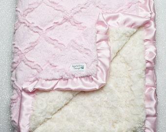 Minky Blanket, baby girl, blanket for girl, baby pink and cream, pink and ivory, lattice blanket, soft blanket, baby bedding, ruffle blanket