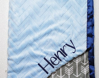 Embroidered Minky Blanket, gift for baby, baby boy, arrow blanket, hipster blanket, modern personalized blanket, Blanket with name, monogram