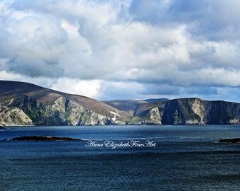 Ireland Photograpy, Achill Island, Irish Landscape, Blue Ocean, Blue Sky, Deep Blue, Irish Travel Art,Seascape, Dramatic, Mountains, Coast