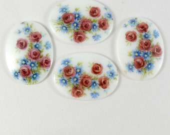 Vintage Cameos, Floral Cameos, Porcelain Decal Cameos, German Decal, Jewelry Supplies, Jewelry Making, B'sue Boutiques, 40 x 30mm, Item06923