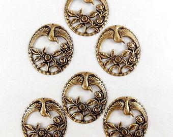 Brass Birds, Bird Pendants, Rose Pendants, Vintage Supplies, Brass Ox, Antique Brass, 47 x 41mm, US Made, B'sue Boutiques, Item07489