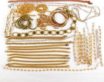 Assorted Vintage Chain, Chain Pieces, Textured Curb Chain, Pearl Chain, Jewelry Making, Raw Brass, B'sue, 8.5 - 29 Inch Lengths,Item08222