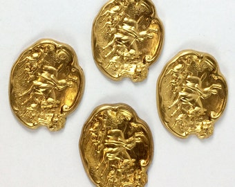 Vintage Brass Fox Hunt Stampings, Horse and Hound Stampings, Jewelry Making, Old Gold Plate, US Made, 29 x 34mm, B'sue Boutiques, Item08747