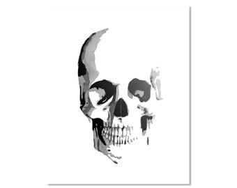 "Skull Watercolor Giclee Fine Art Print Poster of Original Painting 5 x 7"", 8 x 10"", 11 x 14"", 13 x 19"" 16 x 20"""