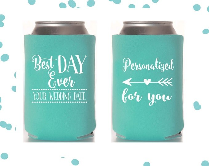 Wedding Can Coolers | Best Day Ever | Personalized Wedding Favor | FREE Standard Shipping
