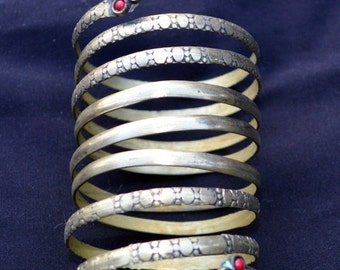 WINTER SALE Vintage Kuchi Spiral Cuff Bracelet Boho Gypsy Tribal Afghanistan Belly Dance Uber Kuchi®