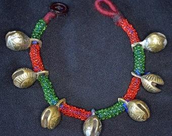 Vintage Kuchi Anklet Ankle Bracelet Brass Bells Glass Beads Hippie Boho Gypsy Tribal Uber Kuchi®
