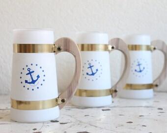 Vintage Nautical Siesta Ware Glasses, Frosted Mugs, Barware, Set of 3