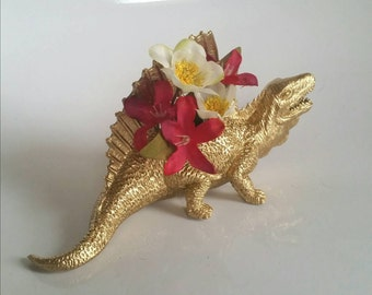 Dinosaur Small Planter in Gold - Office Decor - Home Decor - Great for Air Plants