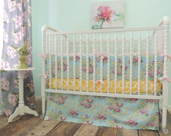 Boutique Cribset in Aqua, Pink, and Yellow with a Tropical Feel, Tropical Baby Bedding, Vintage Floral Bedding, Aqua Yellow Nursery
