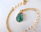 Green Druzy Moonstone Necklace, Romantic Jewelry, Gift for Her, Natural Stone Necklace