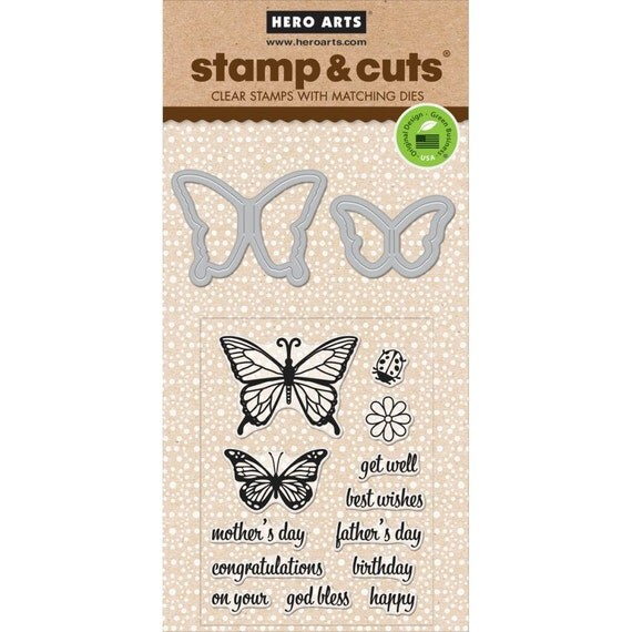 SALE Hero Arts Butterfly Pair Stamp & Cut DC182
