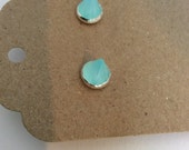 Cone aqua chalcedony stud earrings
