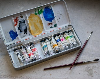 Vintage French Paint Box // Painter Artist Storage box for Art Supplies