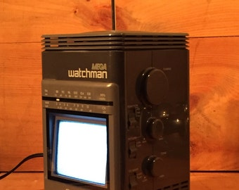 SALE ! Mint Cond Rare Sony TV Mega Watchman FD-500 Am Fm Stereo Receiver Vintage Portable Television Radio Like New Works Awesome